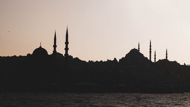 Istanbul, The Silhouette Of The Mosque, Cami, Sunset