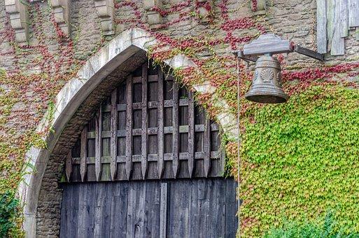 Castle, Door, Portal, Ivy, Bell, Old, Metal, Entry