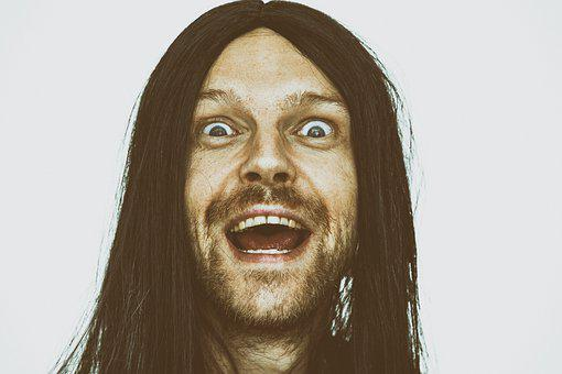 Crazy, Hippie, Funny, Face, Fool, Idiot, Long Hair, Old