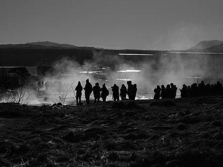 Photographer, Tourists, Photographer Group, Geyser