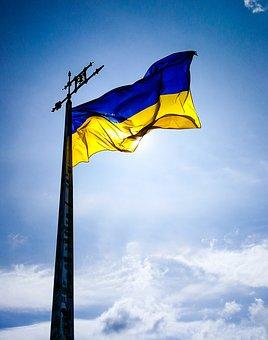 Ukraine, Ua, Flag, Kiev, Europe, Landmark, Travel, Blue