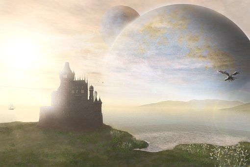 Castle, Sea, Landscape, Dragon, Planet, Science Fiction