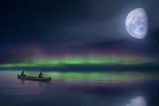 Landscape, Sea, Aurora Borealis, Sky, Clouds, Moon