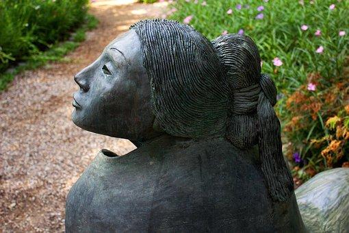 Womensday, Sculpture, Woman, Long Hair, Nature, Grass