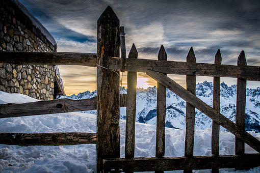 Mountains, Snow, Winter, Gate, Landscape, Outdoors, Sky