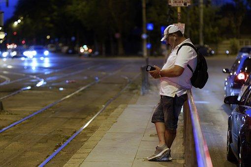 Evening, The Tram Stop, Man, Backpack, Cap, T-shirt