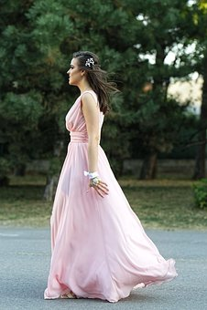 Girl, Woman, Young, Beautiful, Long Prom Dress, Pink