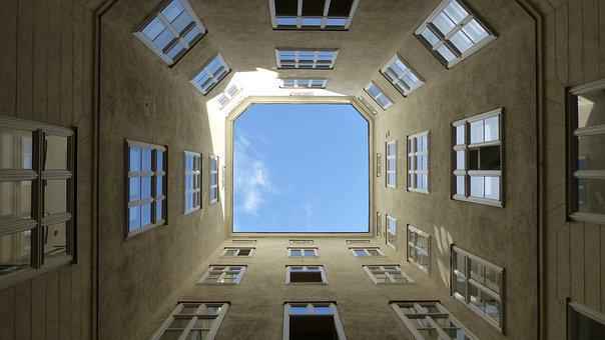 Geometric, Wall, Facade, Sky, Clouds, Building, Window