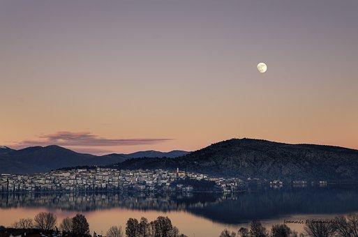 Moon, Colors, City, Lake, Sunset, Light, Sky, Landscape