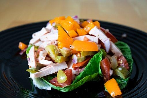 Meat Salad, Salad, Tomatoes, Olives, Gherkins, Sausage