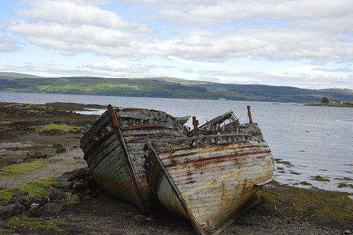 Boat, Stranded, Wreck, Ship Wreck, Coast, Weathered
