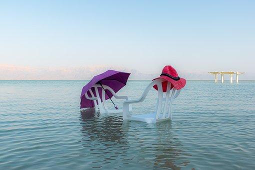Dead Sea, Chairs, Water, Sea, Beach, Blue, Love Story