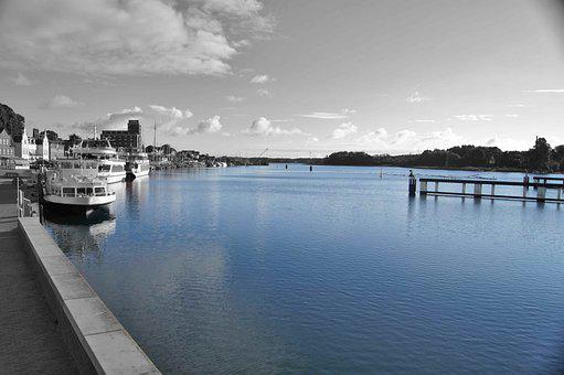 Kappeln, Water, Port, Blue, Sea, Sky, Coast, Ocean