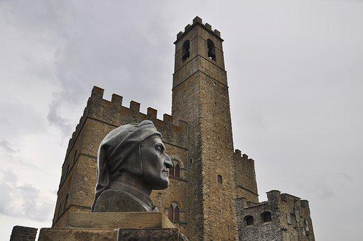 Castle, Tuscany, Dante, Italy, Torre, Old, Tourism