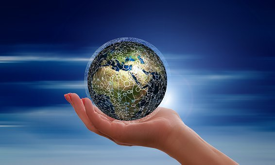 Hand, Keep, Float, Ball, Round, Data, Globe, Earth