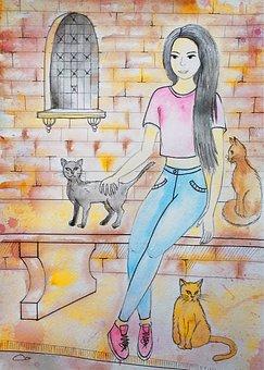 Cats, Pets, Girl, Watercolor, Figure, Kitten, Charming