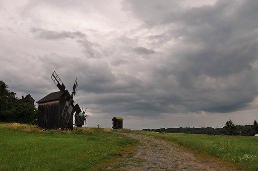 Mill, Clouds, Field, Wind, Grass, Green, Road, Grey