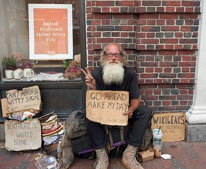 Homeless, Harvard, Brick, Boston, Wikileaks, Peace