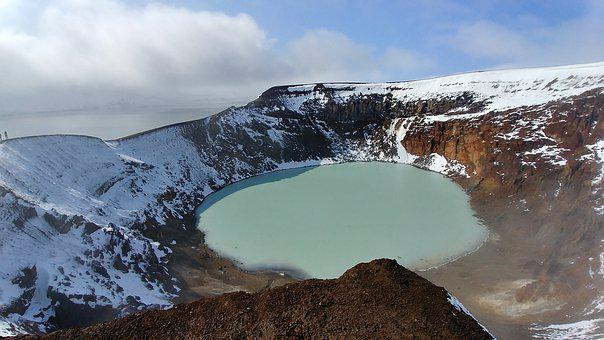 Volcano, Lake, Iceland, Snow, Ice, Mountain, Askja