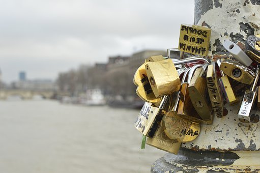 Locks, Paris, Love, Lock, France, Romantic, Bridge
