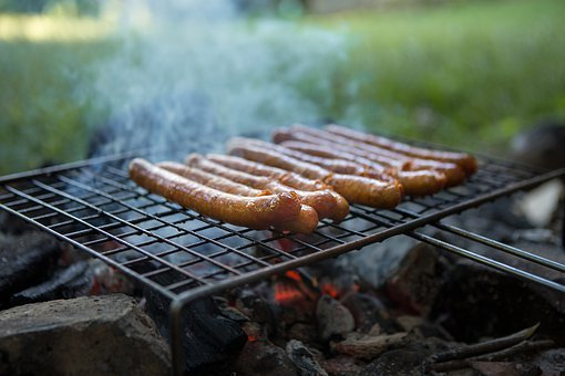 Sausages, Grill, Lunch, Coal, Fork, Smoke, Fresh, Fire