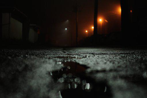 Street, Wet, Rain, City, Road, Urban, Night, Puddle