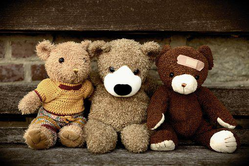 Teddy, Teddy Bear, Bears, Friends, Three, Toys, Cute