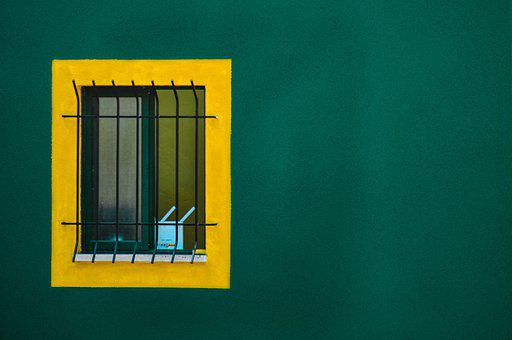 Wall, Green, Texture, Contrast, Window, Bars, Barred
