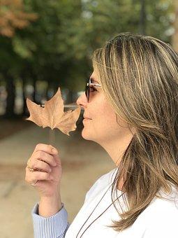 Woman, Paris, Happy, Autumn, Leaf, Smiling