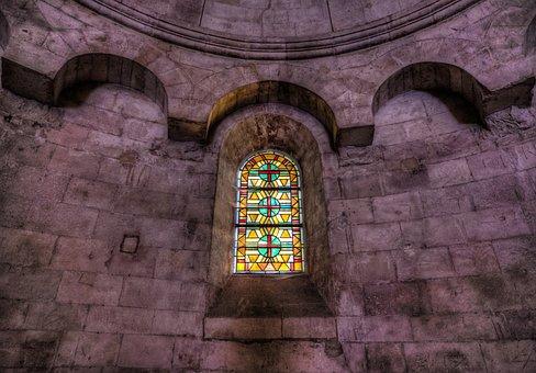Windows, Arles, Roman, Church, Wall, Brick, Stone