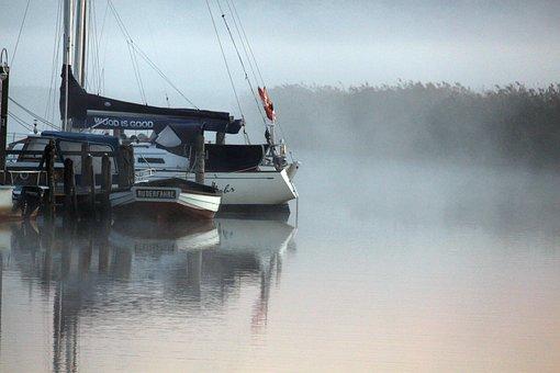 Morning Mist, Fog, Baabe, Rowing Ferry, Ferry