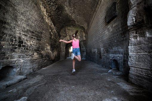 Girl, Jump, Cave, Happy, Jumping, Dance, Joy, Freedom
