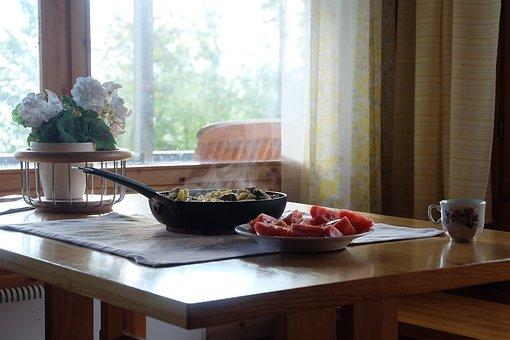 Frying Pan, Fried Mushrooms, Tasty, Tomatoes, Vacation