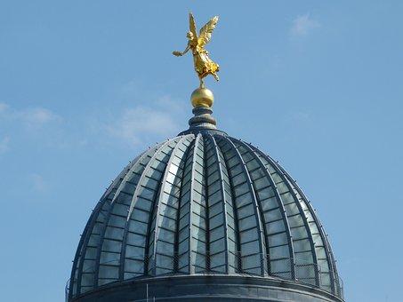 Dome, Angel, Gold, Church, Dresden, Landmark, Monument