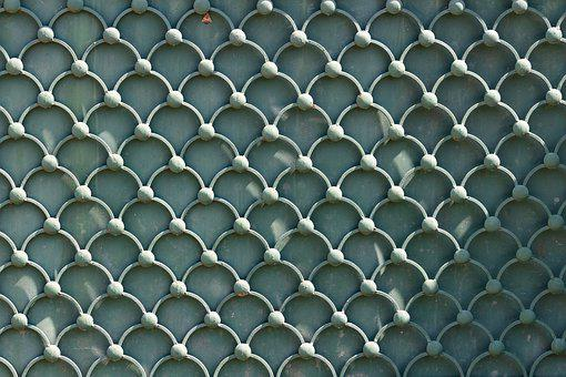 Fence, Fence Grid, Grid, Green Texture, Gray Background