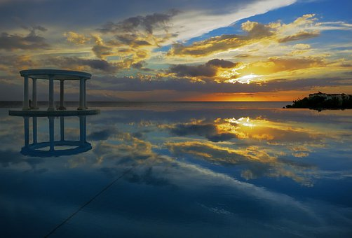 Infinity, Sunset, Pool, Water, Nature, Blue, Mood