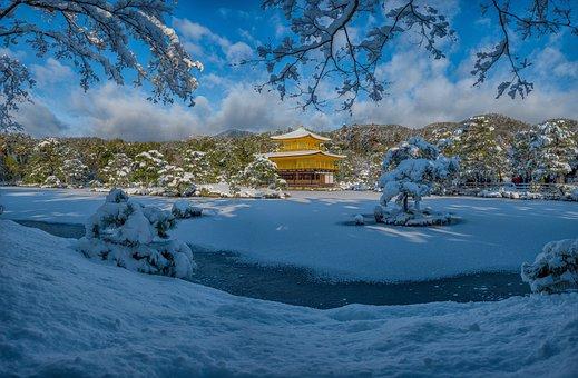Landscape, Snow Scene, Kinkaku Ji, Kyoto