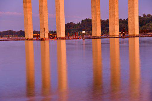Bridge Pillars, Water Reflections, Structure, Landscape