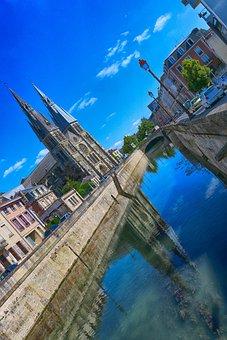 Church, Reflection, Water, Summer, Châlons-en-champagne