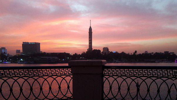 Tower, Nile, River, Cornice, Fence, Sunset, Egypt, Sky