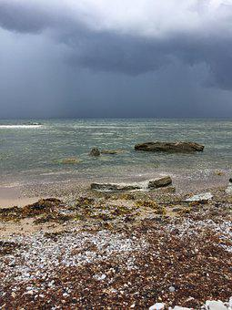 Sea, Threatening, Rain, Clouds, Sky, Water, Dramatic