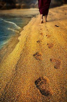 Footprint, Monk, Buddhist, Beach, Sand, Texture