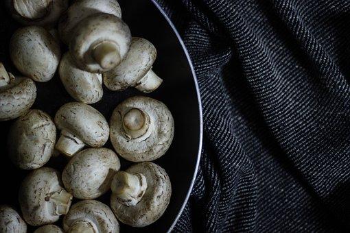 Mushroom, Dark, Food, Vegetable, Button Mushroom, Aroma
