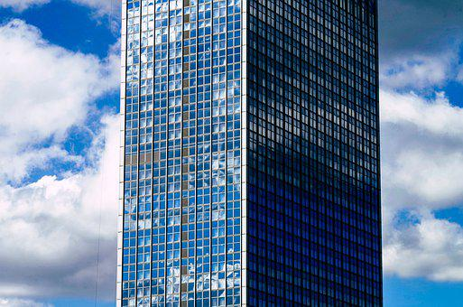 Skyscraper, Mirroring, Clouds, Sky, Reflection, Facade