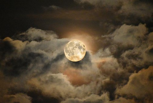Moon, Night, Full Moon, Sky, Glow, Cloudy