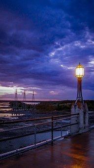 Towers, Night, Dark, Mystery, Lights, Lamp, Atmosphere