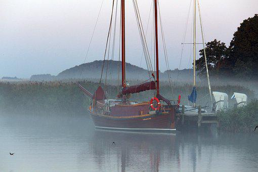 Morning Mist, Fog, Port, Marina, Baabe, Mood, Landscape