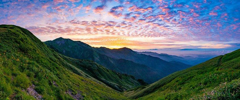 Mountainous Landscape, Panorama, Before Sunrise, Cloud
