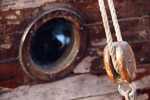 Wooden Ship, Porthole, Harness Lines, Sailing Vessel