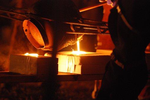 Iron, Pour, Molten, Industrial, Iron-pour, White Hot